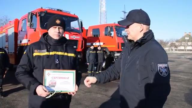 Вогнеборці Новобузького району отримали новий пожежно-рятувальний автомобіль на базі шасі МАЗ
