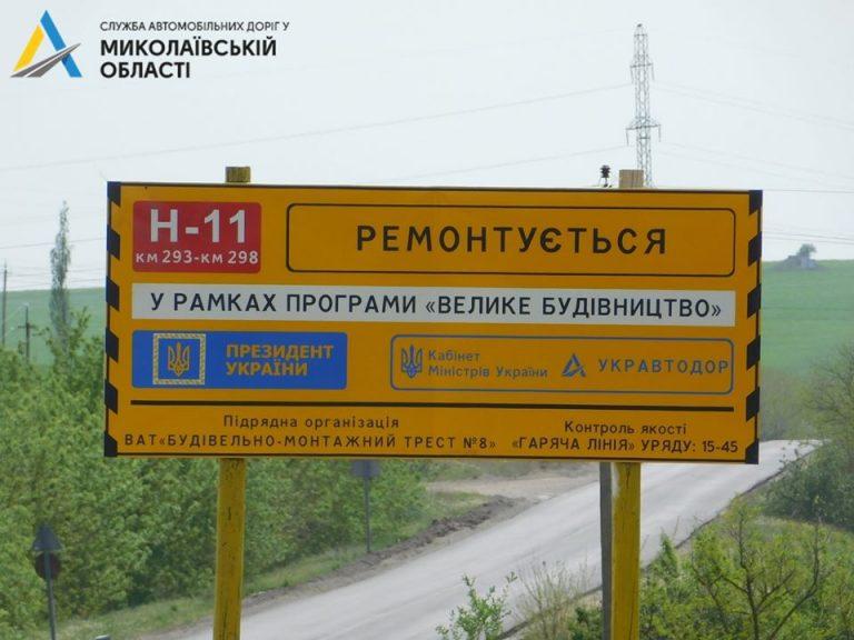 Ремонт автодороги Н-11 Дніпро-Миколаїв (через м.Кривий Ріг) у Миколаївській області