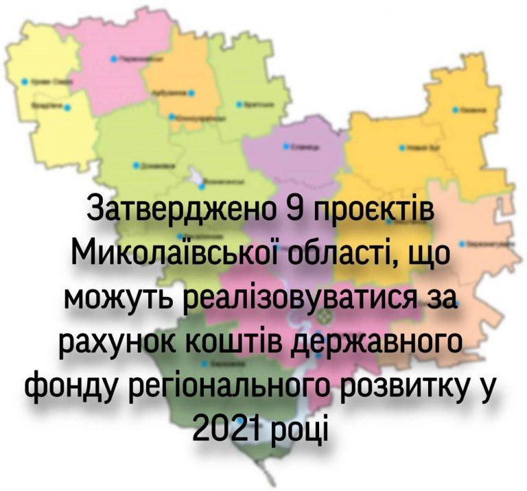 Затверджено 9 проєктів Миколаївської області, що можуть реалізовуватися за рахунок коштів державного фонду регіонального розвитку у 2021 році